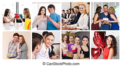 People collage with business team, couple, friends, fitness...
