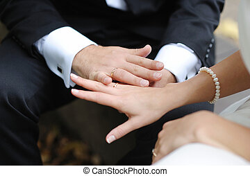 Bride and groom\'s hands with the wedding rings