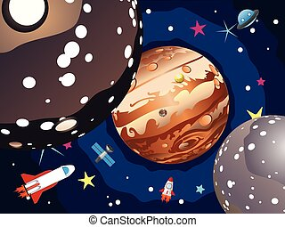 Jupiter Planet - Cartoon planet Jupiter in the space with...