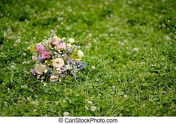 selvatico, matrimonio, fiori, mazzo