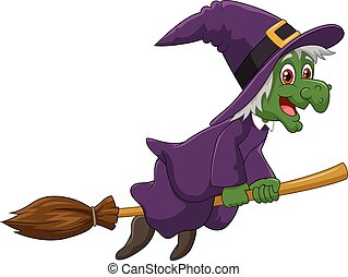 Sinister witch was riding broomstic - Vector illustration of...