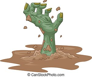 Cartoon zombie hand out