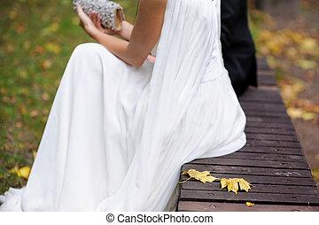 Bride sitting in autumn park - Bride is sitting in autumn...