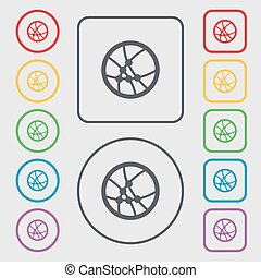 Basketball icon sign. Symbols on the Round and square buttons with frame. Vector