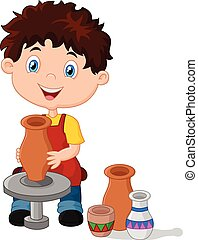 Happy little boy creating a vase - Vector illustration of...