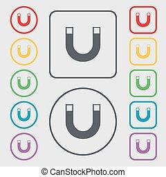 magnet sign icon. horseshoe it symbol. Repair sig. Symbols...