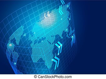 World Map with Technology Business Background
