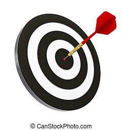 Dart and Dartboard - Red dart struck directly in center of...