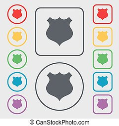 shield icon sign. Symbols on the Round and square buttons with frame. Vector