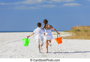 Children, Boy Girl Brother Sister Running Playing on Beach -...