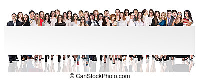 Group of business people presenting empty banner