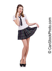 Young flirting student girl isolated on white - Schoolgirl...