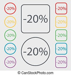 20 percent discount sign icon. Sale symbol. Special offer label. Symbols on the Round and square buttons with frame. Vector