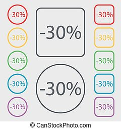 30 percent discount sign icon. Sale symbol. Special offer label. Symbols on the Round and square buttons with frame. Vector