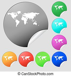 Globe sign icon. World map geography symbol. Set of eight multi colored round buttons, stickers. Vector