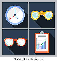 Set of four icons with the clock, binoculars, sunglasses and...