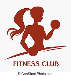 A slender woman with dumbbells - Template for fitness logo,...