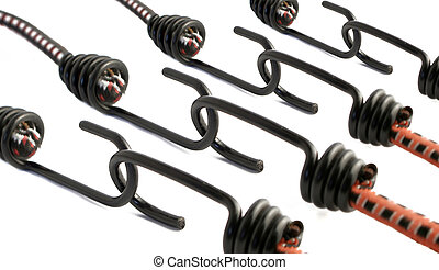bungee cords - Linked stretchy bungee cords with hooks for...