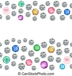 Seamless scattered borders of gems, rhinestones isolated on...