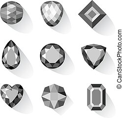 Set of greyscale, black gems isolated on white background,...