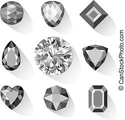 Set of greyscale, black gems isolated on white background,...
