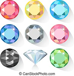 Long shadow flat style set of gems - Long shadow flat style...