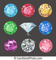 Set of colored gems isolated on dark background, vector...