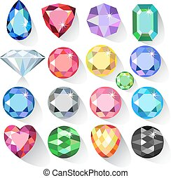 Flat style long shadow set of colored gems isolated on white...