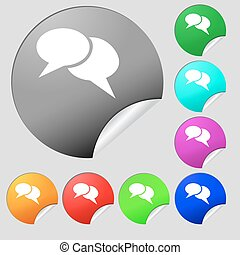 Speech bubble icons. Think cloud symbols. Set of eight multi colored round buttons, stickers. Vector