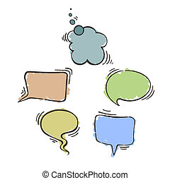 Set of balloons for text Text bubbles Doodle