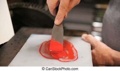 preparing letterpress red ink - preparation of thick red ink...