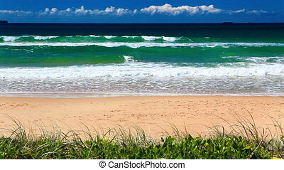 Ocean with waves at the Gold Coast - ocean with waves at the...