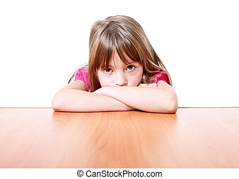 Sad little girl. - Sad little girl isolated on white...