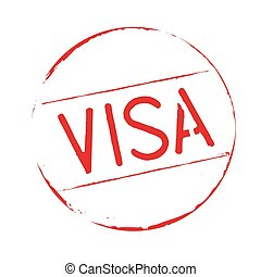 Red grunge stamp Text VISA - Red vector grunge stamp...