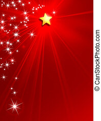 Christmas New Year star background - Glowing star on red...