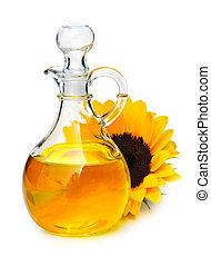 Sunflower oil bottle and flower isolated on white