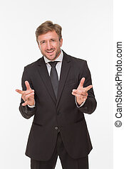 Businessman with yo signs over white background - Very happy...