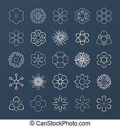 Set of white outline silhouettes of flowers