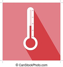 Thermometer Icon Thermometer Icon vector isolated on red...