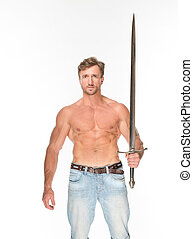 Bare-chested man with katana sword - Bare-chested man...