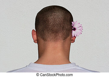 Man nape - Man\'s shortly short-haired nape with a flower...