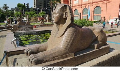 Sphinx at Egyptian Museum in Cairo, Egypt - CAIRO, EGYPT -...