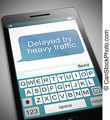 Traffic message - Illustration depicting a phone with a...