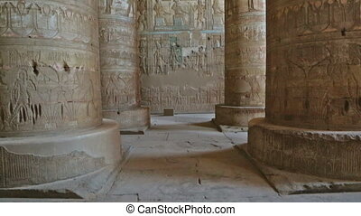 Interior of Dendera Temple in Egypt - Interior of the...