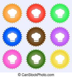 Chef hat sign icon. Cooking symbol. Cooks hat. A set of nine different colored labels. Vector