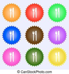 Eat sign icon. Cutlery symbol. Fork and knife. A set of nine different colored labels. Vector