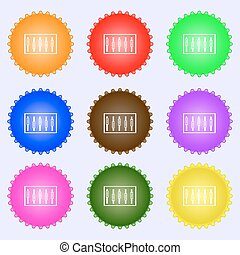 Dj console mix handles and buttons, level icons. A set of nine different colored labels. Vector