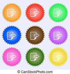 Export file icon. File document symbol. A set of nine different colored labels. Vector