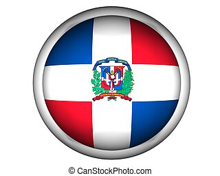 National Flag of Dominican Republic, button style