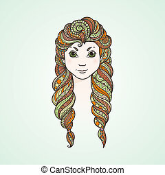 Portrait of a cute long-haired girl with braids and a stern...